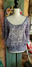 Wet Seal Gray & Purple Batik Print Sheer Flutter Sleeve Blouse Size M