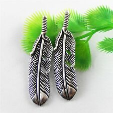 Lot 2pcs Retro Style Silver Feather Look With 2 Hole Brass Pendant Charms 52288