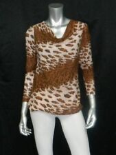 JON & ANNA NEW YORK NWT Brown Animal Print Drape Neck Stretch Knit Blouse sz M