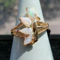 Pear Shaped Opal Ring - 14k Yellow Gold - great fire - blues, green and pinks