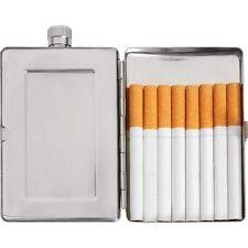 2.5oz Flask & Cigarette Case Holder / Secret Wallet Stainless Steel Travel Carry