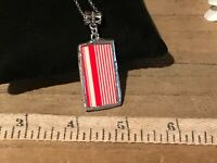 Recycled Broken Porcelain Jewelry, Red & White Striped Pendant