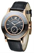 Swarovski Octea Classica Black Rose Gold SS BLK Leather Watch 1181762