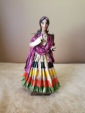 "MEXICAN FOLK ART PAPER MACHE DOLL WITH GREAT COLORS - 9"" TALL"