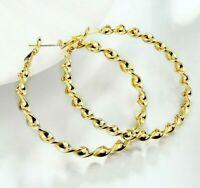 "Eternity Gold Twisted Hoop Earrings in 14K Gold plated 2"" INCHES Large ITALY"
