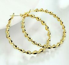 14k Gold Plated Large Hoop Earrings 2 Inches Retail