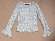 FOR LOVE AND LEMONS Light Blue Floral Lace Long Bell Sleeve Top Size Small