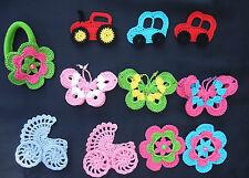 Rosa kinderwagen, Häkelblumen, Applikation, Aufnäher, Häkelapplikation, gehäkelt