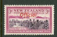 NEW ZEALAND....  1940 centennial  3d settlers  OFFICIAL  overprint  mnh