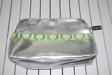 "Clinique Make-up Cosmetic Bag Travel Side Pocket Silver Lime White Zip 12""x7.5"""