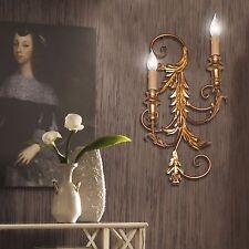 Applique parete lampada classico ferro forgiato battuto foglie e legno tornito
