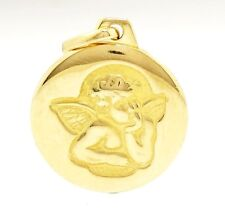 9Carat Yellow Gold Engraved Guardian Angel Charm/Pendant 15mm Diameter