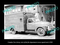 OLD LARGE HISTORIC PHOTO OF CAMDEN NEW JERSEY, THE FIRE DEPARTMENT TRUCK c1950