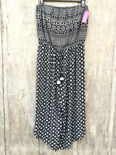New Women's Xhilaration Black/White Floral Strapless Cropped Wide-Leg Jumpsuit L