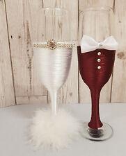 Mr & Mrs glasses BRIDE & GROOM  Wedding Glasses Champagne Flutes burgundy white