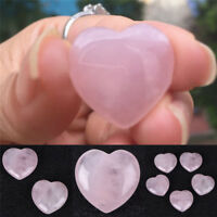 Natural Rose Quartz Crystal Carved Heart Shaped Love Palm Healing Gemstone Pink
