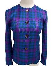 Liz Claiborne suit vintage blazer plaid button front made in Taiwan size 2