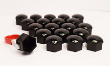20 x 17MM ALLOY WHEEL HEX NUT/BOLT CAPS COVERS + TOOL BLACK For Audi Cars