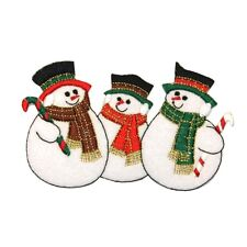 ID 8003 Snowman Row Christmas Winter Snowmen Embroidered Iron On Applique Patch