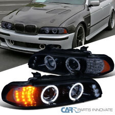 For BMW 01-03 E39 528i 540i Glossy Black Tinted LED Halo Projector Headlights