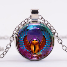"""Scarab Egyptian charm pendant 20"""" Sterling Silver 925 necklace chain female"""