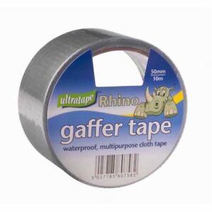 6 x Ultratape Rhino Silver GafferTape waterproof Multipurpose Cloth Tape 50x10mm