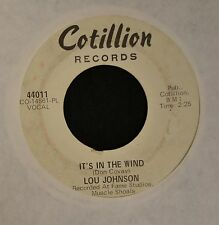 Lou Johnson Cotillion DJ 44011 It's In The Wind and Rock Me Baby