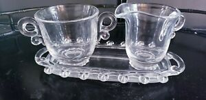Vintage Clear Heisey Lariat Sugar and Creamer Set with Tray
