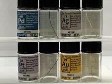 Gold Silver Platinum Palladium 0.1 Grams Electrode - Wire Set in Element Bottle