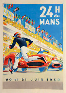 French VINTAGE POSTER Le Mans 1959 Motor Racing Car Race Art Deco PRINT A3 A4 A2