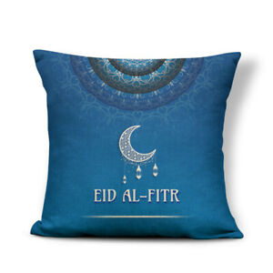 Blue Eid Al Fitr Pillow Covers Hijab.17 x 17 inch Decorative Linen Pillow Covers