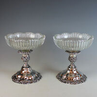 Pair of Ornate Silverplate Candle Holders with Glass Inserts