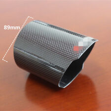 Gloss Carbon Fiber Car Universal 89mm Exhaust Tip Cover Flat Edge Muffler Case