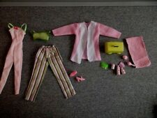 Barbie Clothes Pajamas-Pink Green PJ's -1 Pc-Robe-Case-Hair Accessories Lot B20