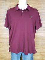 Polo By Ralph Lauren Burgundy Classic Fit Polo Shirt Mens Size Large L EUC