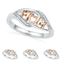 Women Silver Plated Mum Ring MOM Character Rhinestone Love Ring Mothers Day Gift