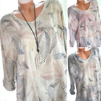 Plus Size Women Floral Long Sleeve T-Shirt Loose Tops Baggy Casual Tee Blouse