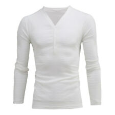 Men's Deep V Neck Summer Long Sleeve T-shirt Basic Tee Shirt Casual Slim Fit Top