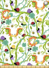 Leif by SusyBee Cotton Quilt fabric Ladybug Snail Caterpillar Bee Vine