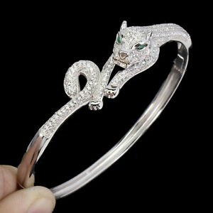 Bangle Bright White Lab Created Stones Sterling Silver Cat Design 7 Inches