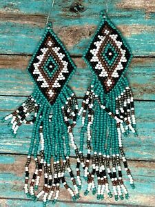 Southwestern Multi Color Beaded Hook Earrings Mother seedbead Birthday Valentine
