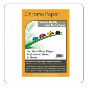 Chroma Paper - A4 Double Sided Matte/Matte Pro Inkjet Photo Paper 220gsm 50 Pack