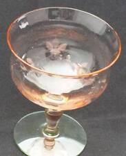 Vintage Etched Pink Sherbet Uranium Vaseline Glass Base