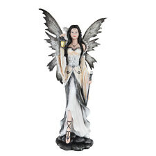 Large Black and White Night Tribal Fairy w Dragon Statue Figurine Faery Lantern