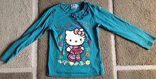 Hello Kitty Kinder Gr.122 Langarm Shirt Longshirt Türkis für Mädchen NEUWERTIG