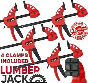 4 x Lumberjack Bar Clamps Heavy Duty One Handed Quick Grip Mini Fast Clamp Set