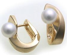 Damen Ohrringe Klapp Creolen echt Gold 585 mit Perlen 6,5 mm Gelbgold