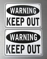 """""""WARNING KEEP OUT"""" WARNING SIGN, 2 SIGN SET, METAL"""