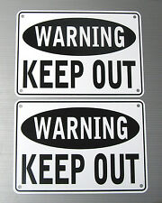 """Warning Keep Out"" Warning Sign, 2 Sign Set, Metal"