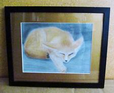 Artist Signed Chalk Pastel Framed Sleeping Fox Painting Wall Art - Wonderful!